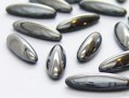 Cabochons | Glass nuggets | Gemstones | Oval,  5.0x16.0mm, Jet-Hematite