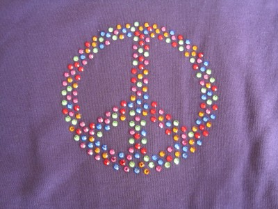 "Strass-Applikation ""Peace"""
