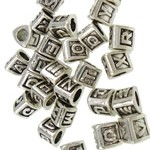 Metal Beads | Letters Alphabet |  7.5mm x 9.0mm x 9.0mm, silver