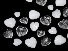 Acrylic Beads of Star Bright | Heart,  5.0 - 10.0mm, Crystal / Wihte Opal Multi Form Mix