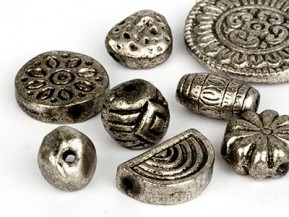 Antique Style Big Metal Beads to bead and to stitch on 15-25mm (silver Big Form Mix)
