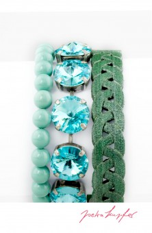 "Bracelet Set ""Temper"" Türkis, with original Swarovski Elements Crystals"