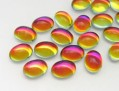 Cabochons | Glass nuggets | Gemstones | Oval,  6.0x8.0mm, Light Crystal Volcano