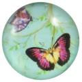 Cabochons | Glass nuggets | Gemstones | Round, 25.0mm, Butterflies