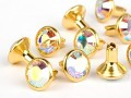 Chaton-Nieten von Swarovski Elements SS34 (Crystal-AB, Gold) - 4mm Schaft