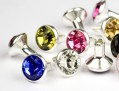 Chaton Rivets of Swarovski Elements  SS18  (Colormix, Silver) - 4mm Shank