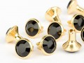 Chaton Rivets of Swarovski Elements SS29 (Jet, Gold) - 4mm Shank, REMAINING STOCK