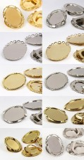Clip-Brooches plate Multi Form Size Mix 26x50mm (gold/silver)