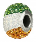"European Glass Beads of Swarovski Elements ""BeCharmed"" 14mm (Ireland flag, Stainless steel)"