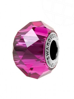 "European Glass Beads of Swarovski Elements ""BeCharmed Briolette"" 14mm (Fuchsia, Stainless steel)"