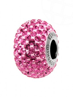 "European Glass Beads of Swarovski Elements ""BeCharmed Pave"" 14.0mm (Rosé, Stainless steel)"