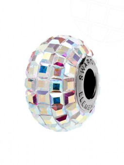 "European Glass Beads of Swarovski Elements ""BeCharmed Pave"" 15.0mm (Crystal-AB, Stainless steel)"