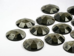 Gemstones | Rhinestones | 25.0mm, Round, Black Diamond