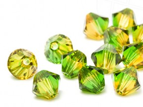 Glass Beads of Swarovski Elements Bicone  4mm  (Fern Green -Topaz Blend)