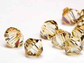 Glass Beads of Swarovski Elements Bicone  6mm  (Crystal-Golden Shadow)