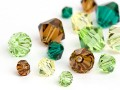 Glass Beads of Swarovski Elements Bicone  (Forest Multi Size Mix)
