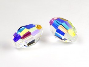 "Glass Beads of Swarovski Elements ""oblong"" 7,5x5mm (Crystal-AB)"