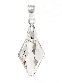 "Jewelry pendant for necklace ""Rhombus"" with original Swarovski Elements Crystals (Crystal-Silver Shade, 925 Sterling Silver)"