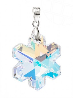 "Jewelry pendant for necklace ""Snowflake"" with original Swarovski Elements Crystals (Crystal-AB, 925 Sterling Silver)"