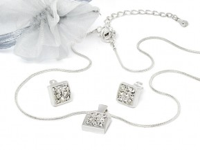 "Jewelry Set ""Eternal Love"" with original Swarovski Elements Crystals (Crystal, silvered)"