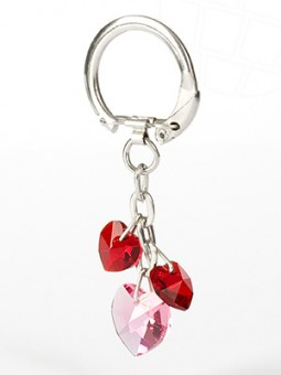 Key- Bag pendant with Swarovski Elements heart pendants (Siam / Rose)
