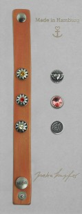 "Leather bracelet ""Button Bracelet Set"" Tequila Sunrise, with original Swarovski Elements Crystals"