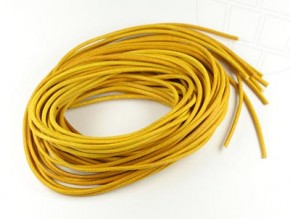 Leather tape in jeweler quality, round, diameter approx. 1,5mm (yellow)