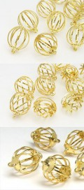 Metal Beads | Pendants | cage 10-14mm Multi Form Size Mix (gold)