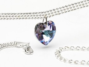 "Necklace ""Light Heart"" with Swarovski Elements pendants (Crystal-Vitrail Light)"