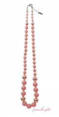 "Necklace ""Pearl Necklace Points"" Pink Coral Mix, with original Swarovski Elements Crystals"