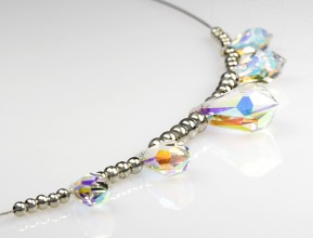 Necklace with Swarovski Elements pendants (Crystal-AB)