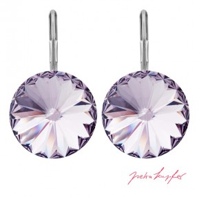"Pierced Earrings ""Arrondi"" Smoky Mauve, with original Swarovski Elements Crystals (14.00mm)"
