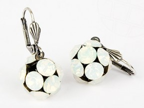"Pierced Earrings ""Globe"" with original Swarovski Elements Crystals (White Opal)"