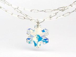 "Waist Chain Universal with an original Swarovski Elements ""Snowflake"" pendant (Crystal-AB / silver)"